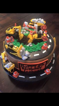 Boys construction themed birthday cake by D's Cakes and Cupcakes
