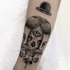 Trippy Guy-from-the-twenties inside and outside face and third eye tattoo... Very awesome and very unique.