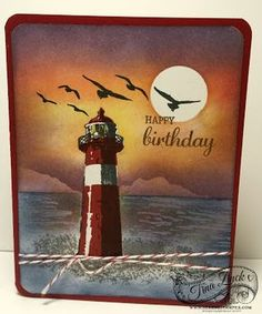 Create this easy sunset card, with the High Tide stamp set, using inks and sponges! Video and supply list on Feb 4/17 blog post at www.serenestamper.com