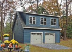 Free plans for a 2 Story 2 Car Garage from PA. Choose a Legacy Two Story Garage and get a set of free plans that are custom built for your 2 car garage. Prefab Garage With Apartment, Garage Apartments, Garage Plans With Loft, Garage Loft, Garage Ideas, Prefab Garages, Prefab Sheds, Buy A Garage, Two Car Garage