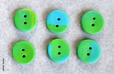 Buttons handmade in poly clay / Fimo clay. No 104    6 pcs. about 15 mm in diameter.      when buttons are handmade they may vary slightly in size and