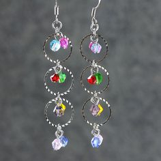 Colorful dangling hoop earrings handmade ani designs