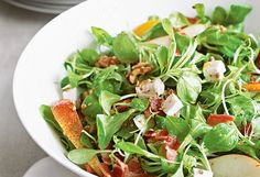Mâche Salad with Pear, Goat Cheese, Beets and Walnuts