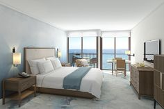 The Halepuna sits on the former site of the Waikiki Parc Hotel, across the street from it's stately sister property, the Halekulani, and received a multi-million dollar re-do by New York City-based designer Alexandra Champalimaud and her eponymous firm. Halepuna's 288 guest rooms and suites—all located on the 8th floor or higher, with mountain or ocean views—are done up in airy white and shades of blue, echoing the sea and sand below.