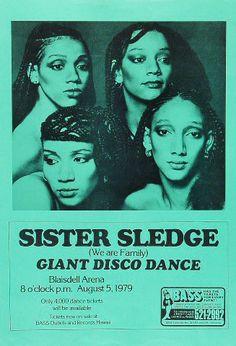 sister sledge poster, fashion, style, disco
