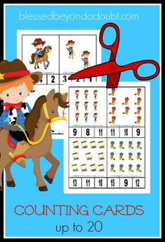 FREE Cowboy Themed Counting Cards! Super CUTE!