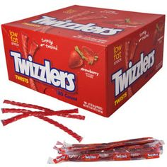 It takes about 15 hours to make Twizzlers Strawberry Twists but a lot less time to eat one. Twist the day away with this strawberry flavored licorice! Candy Stand, Old Candy, Nostalgic Candy, Online Candy Store, Penny Candy, Classic Bar, Chewy Candy, Dessert Bars