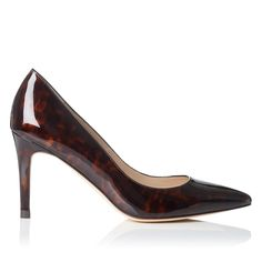 LK BENNETT | Florete Patent Leather Print Point Toe Court in tortoiseshell | Leather upper, lining and sole | Heel height: 8.5cm | £170