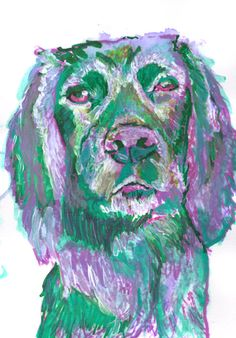 Cocker Spaniel Dog Painting, Dog art Print, Working Spaniel Watercolor painting Green and Purple cocker spaniel gift idea… #dogs #etsy #art