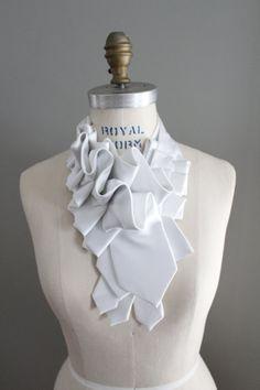 Lapel in White Satin Silk Ruffle Necktie by lilianasterfield, $175.00