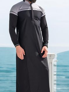 QL CL Lightweight Thobe Kameez with long sleeves in Black is part of Thobe New Classic Kameez Dual material, High Micro Breathable Quality Fabric in low Woven Cotton, A Lightweight Chic and Trendy K - Muslim Men Clothing, Islamic Clothing, Indian Men Fashion, Mens Fashion Suits, Jubbah Men, Boys Kurta Design, Outfit Man, Kurta Men, Mens Kurta Designs