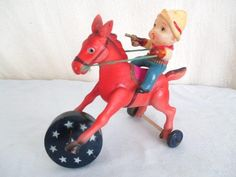Old Celluloid OCCUPIED JAPAN COWBOY ON HORSE *Vintage WIND-UP Western Toy