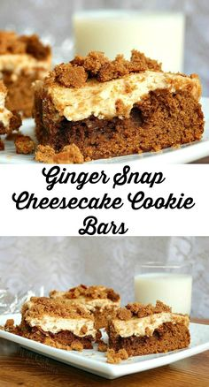 Ginger Snap Cheesecake Cookie Bars, soft gingerbread cookie on the bottom topped with smooth layer of cheesecake