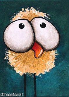 ACEO-Print-Folk-Art-illustration-whimsical-animal-big-eyes-bad-hair-day-bird