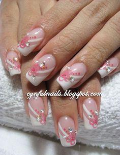 Cynful Nails: Lots of bridal nails! Funky Nails, Cute Nails, Pretty Nails, Nails Opi, My Nails, Gel Nail Designs, Cute Nail Designs, Fingernail Designs, Beautiful Nail Art