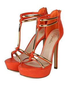 b53e1531fee22 Tendance chausseurs   Description Women s Paprika Women Leatherette Open Toe  Gold Plating Platform Stiletto Heel – Orange