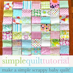 "Simple Baby Quilt Tutorial | Flower Press | ""Cut out 4 inch squares. For this quilt I've used 63 squares, 7 columns x 9 rows."""