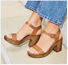 Tan leather wooden platform sandals