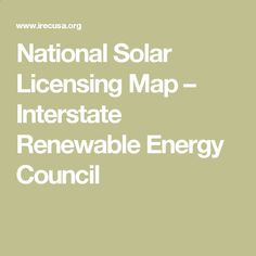National Solar Licensing Map – Interstate Renewable Energy Council