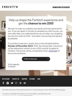 Tell us what you think for the chance to win £200 - Farfetch