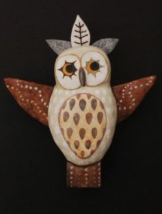 """It's a Hoot!"" - by artist Ulla Anobile - paper mache, wood, acrylics, felt, embroidery floss, 5.5""x6"" - SOLD"