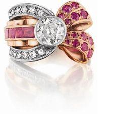 Retro Diamond and Ruby Ring