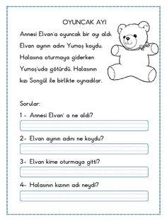 KISA OKUMA ANLAMA METNİ – OYUNCAK AYI özgün çalışmamdır aşağıda bulunan indir butonundan indirebilirsiniz. Tüm çalışmalarımızı kendi emeklerimizle özgün olarak hazırlıyoruz bu yüzden; Sitemizde Bulunan.. First Grade, Grade 1, Turkish Lessons, Learn Turkish, Turkish Language, Reading Passages, Pre School, Kids And Parenting, Montessori