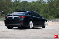 Take a look at the Renovated Black Mazda 6 with Custom Parts photos and go back to customizing your vehicle with renewed passion. Mazda6, Truck Wheels, Wheels And Tires, Mustang Wheels, Vossen Wheels, Motorcycle Wheels, Bike Wheel, Custom Wheels, Autos