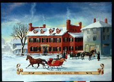 """James Pierpont writes Jingle Bells ~   Seccomb House, which later became the Simpson Tavern, Medford, MA Illustration by Nestor Redondo, 1992. (Courtesy of the Medford Historical Society)"