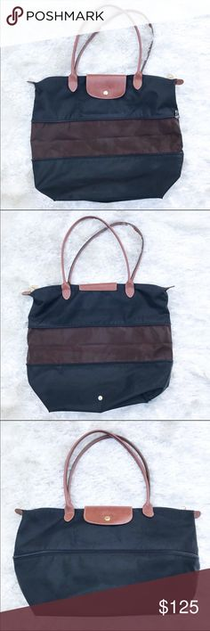 """LONGCHAMP Le Pliage Expandable Bag Le Pliage expandable Purse from Longchamp. Authentic — see photos to confirm. This is a rare Le Pliage. Brown and black. Approx. dimensions expanded are 16.5 by 14"""". Excellent used condition, a few small marks on the bottom. Longchamp Bags Shoulder Bags"""