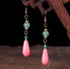 Pink Earrings, Vintage Earrings, Beaded Earrings, Earrings Handmade, Drop Earrings, Traditional Earrings, Art Nouveau Jewelry, Jade Jewelry, Ancient Jewelry