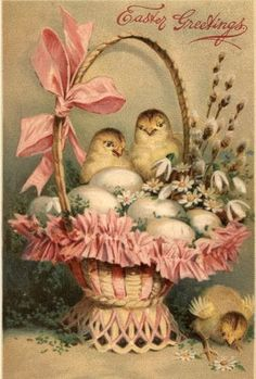 Easter basket with chicks and eggs
