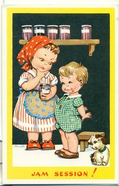 POSTCARD  COMIC  CHILDREN  Jam session ! in Collectables, Postcards, Comic/ Seaside Humour | eBay!