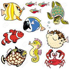 Animales de mar de dibujos animados. Fondo blanco.
