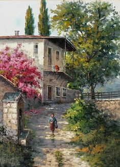 Street Painting, House Sketch, Back Gardens, Painting On Wood, Watercolor Art, Istanbul, Cool Art, Illustration Art, Landscape