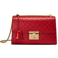 Padlock Gucci Signature Shoulder Bag ($2,290) ❤ liked on Polyvore featuring bags, handbags, shoulder bags, gucci, purses, red, red leather handbags, man leather shoulder bag, hand bags and gucci purse