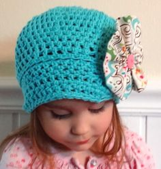 Toddler Newsboy Style Hat with Fabric Flower by corriesshop, $20.00