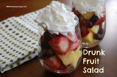 Drunk Fruit Salad - be the hit of the party with this!  It's SO SO GOOD! #vodka #fruitsalad #summerfood #bbq