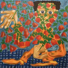 Florist/Maarit Korhonen, 65cm x 65cm, acrylic, oil sticks, canvas. Canvas, Artwork, Tela, Work Of Art, Auguste Rodin Artwork, Canvases, Artworks, Illustrators