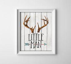 Buy One Get One Free - Art Print - Little Man - Deer Antlers - Arrow - Woodland - Rustic - Nursery - Baby boy - Child - Watercolor style