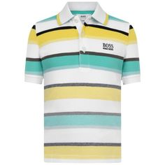 BOSS Boys Green Striped Cotton Pique Polo Top