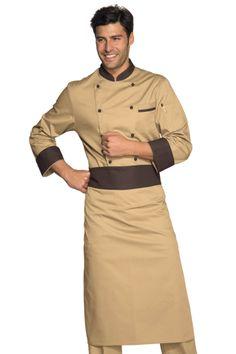 Veste Chef Cuisinier Biscuit Liseré Marron Cacao O Maskara, Hotel Uniform, Restaurant Uniforms, African Dresses Men, Uniform Design, Batik Dress, Work Wear, Chef Jackets, Coat