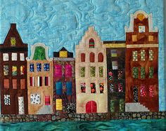 Art quilt with Dutch houses