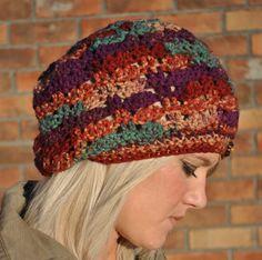 Slouchy Crochet Hat / Beanie Purple Multi by yokieB on Etsy, $32.00