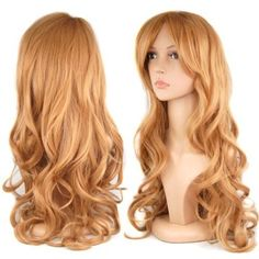 28 inch Women's Long Slap-up Curly Wigs Party Cosplay Fancy Dress Beauty + Wig Cap - Red, Blonde, Dark Brown, Wine Red (Wine Red) Strawberry Blonde, Long Curly Hair, Curly Hair Styles, Curly Wigs, Hair Wigs, Big Waves Hair, Beauté Blonde, Blonde Beauty, Blonde Highlights