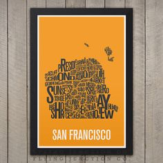 "SAN FRANCISCO Neighborhood Map Print - 12"" x 18"" (4 Color Choices) on Etsy, $20.00"