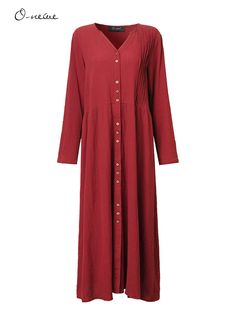 O-Newe Vintage Button Ruffled V-Neck Maxi Dress For Women