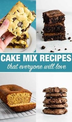 Easy Cake Mix Cookie Bars made with just four ingredients: oil, eggs, cake mix, and chocolate chips. An easy cake mix dessert! Cake Mix Recipes, Snack Recipes, Dessert Recipes, Cake Mixes, Homemade Stir Fry Sauce, Oatmeal Energy Bites, Cake Mix Cookies, Sandwich Cookies, Shortbread Cookies