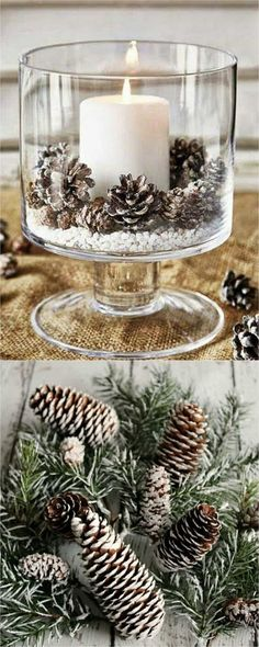 27 gorgeous & easy DIY Thanksgiving and Christmas table decorations & centerpieces! Most can be made in less than 20 minutes, from things you already have! - A Piece of Rainbow DIY decorations 27 Gorgeous DIY Thanksgiving & Christmas Table Decoration Simple Christmas, Winter Christmas, Christmas Home, Christmas Ornaments, Christmas Quotes, Christmas Carol, Modern Christmas, Scandinavian Christmas, Christmas Tables
