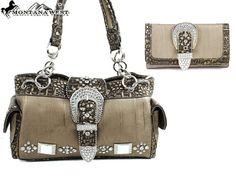 Concealed Carry Handbag Purse & Wallet SET / Montana West Rhinestone - Bronze $83.99 + Free Shipping! wantedwardrobe.com wantedwardrobe.net